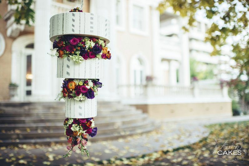 Hanging Flower Chandelier Cake Avalon Cakes1