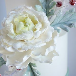 Tutorial on how to create this amazing peony, dusty miller leaves, berries and edible spruce!