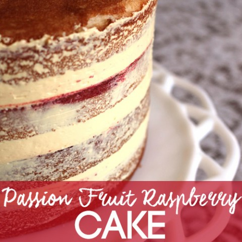 Vanilla Cake with Passion Fruit and Raspberry Filling