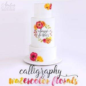 water-color-flowers-cake-hand-painted-calligraphy-wedding-cake-avalon-tutorial-how-to-colorful